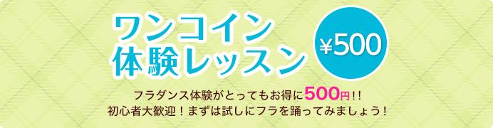 ワンコイン体験レッスン。 フラダンス体験がとってもお得に500円!!初心者大歓迎!まずは試しにフラを踊ってみましょう!